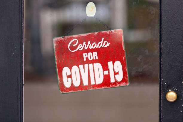 Closed by Covid 19 - Closed sign stock photo