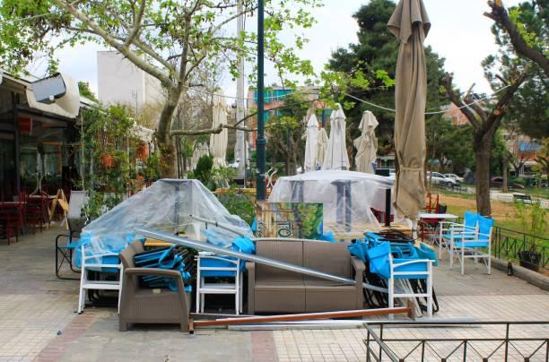 Café-restaurant fermé à Athènes, Grèce - Photo