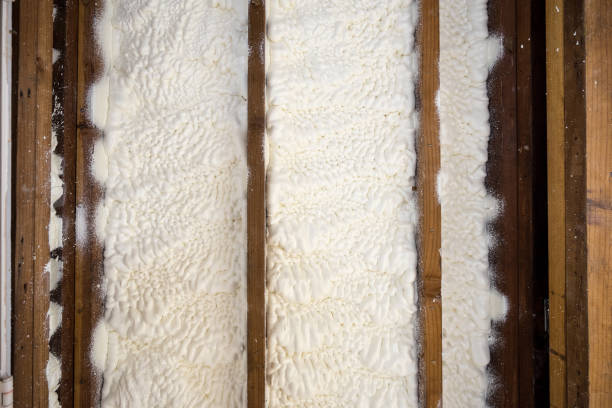 Closed cell spray foam insulation stock photo