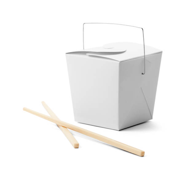 Closed Chinese Take Out Box White Food Containted and Chop Sticks with Copy Space Isolated on White Background. chinese takeout stock pictures, royalty-free photos & images