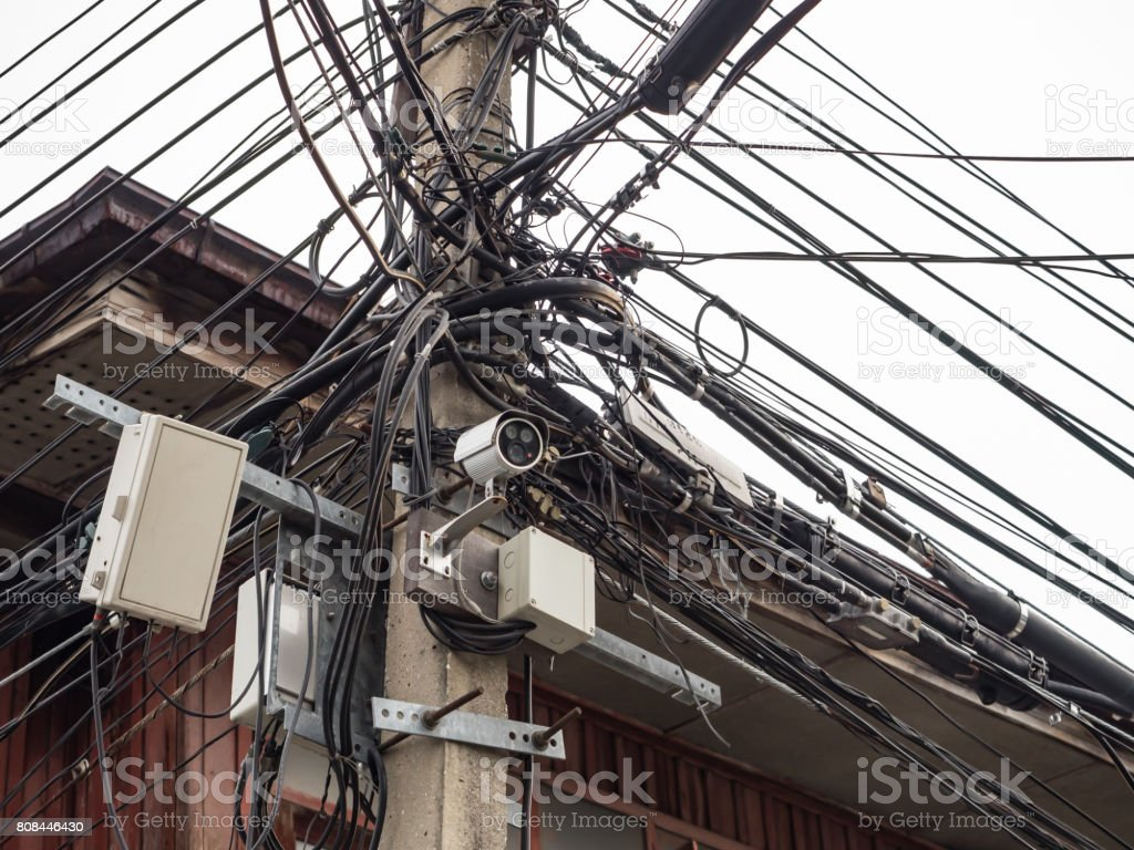Closed Circuit Television On Electric Pole Stock Photo