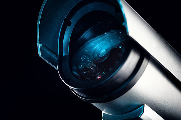closed circuit television security camera - big brother orwellian concept stock pictures, royalty-free photos & images