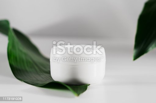 istock Closed cream jar and plant leaves side view. Organic cosmetology, natural cosmetics botanical concept. Women skin care product. Facial, body balm plastic container and foliage composition 1173191028