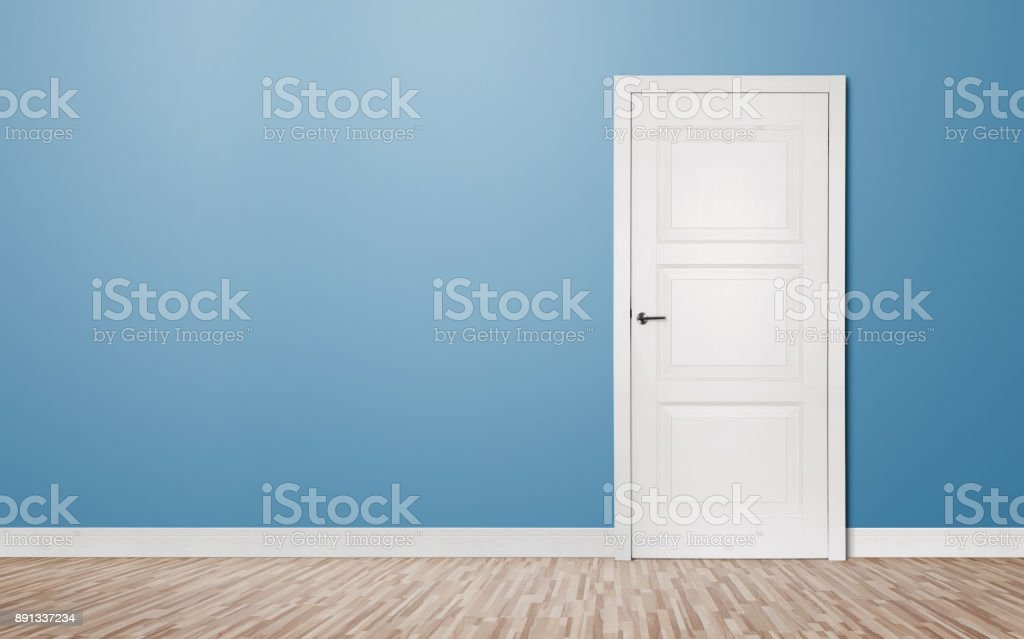 Closed door in the empty room stock photo
