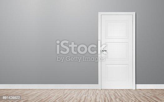 istock Closed door in the empty room 891426522