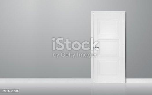istock Closed door in the empty room 891433704