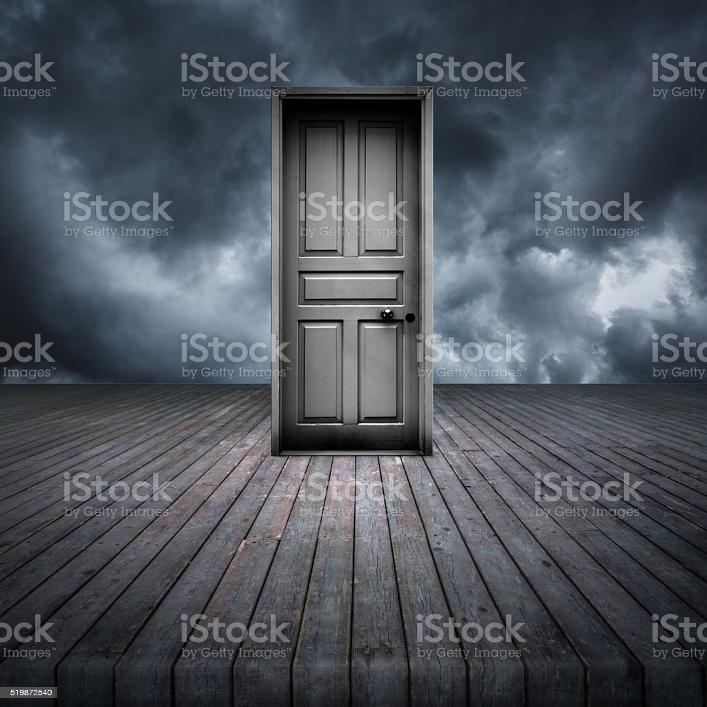Closed door outdoor a stormy day stock photo