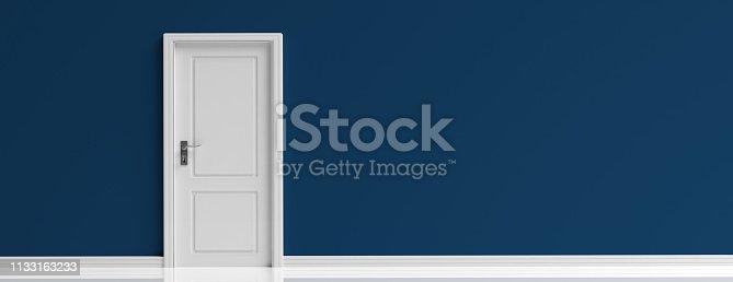 istock Closed door white on dark navy blue wall background, banner. 3d illustration 1133163233
