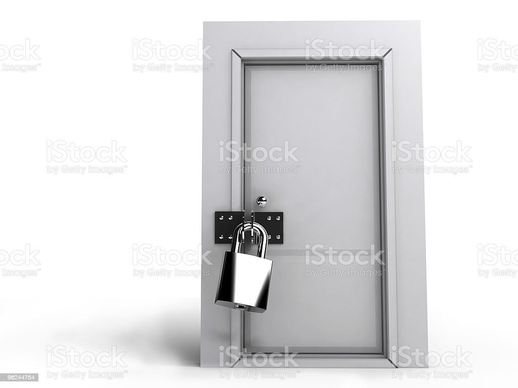 Closed door with lock isolate royalty-free stock photo