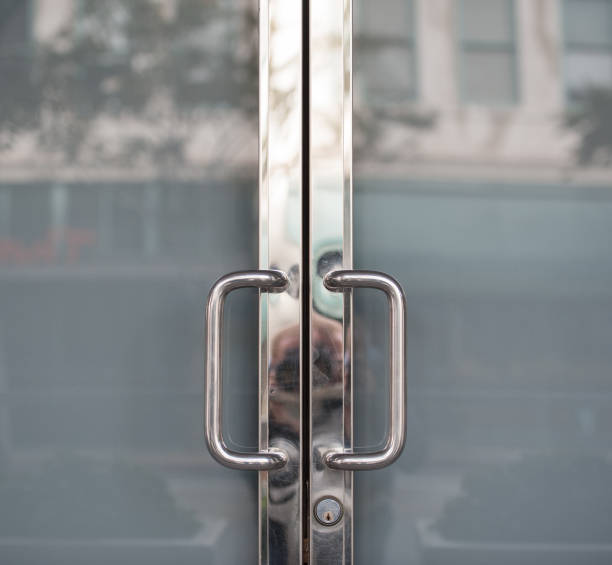 closed doors, metal and glass - closed stock photos and pictures