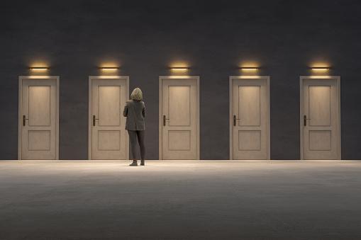 Too many closed doors, too many options, Business woman looking for the right door to exit, 3D - Computer generated image.