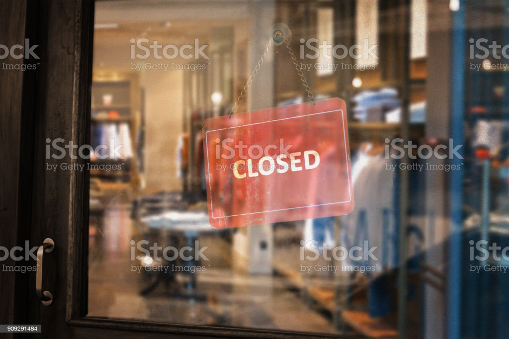 Closed Dress Shop stock photo