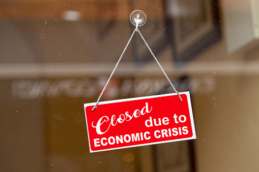 Closed Due To Economic Crisis Closed Sign Stock Photo - Download Image Now