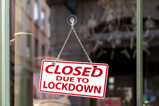 Closed Due To Lockdown Closed Sign Stock Photo - Download Image Now