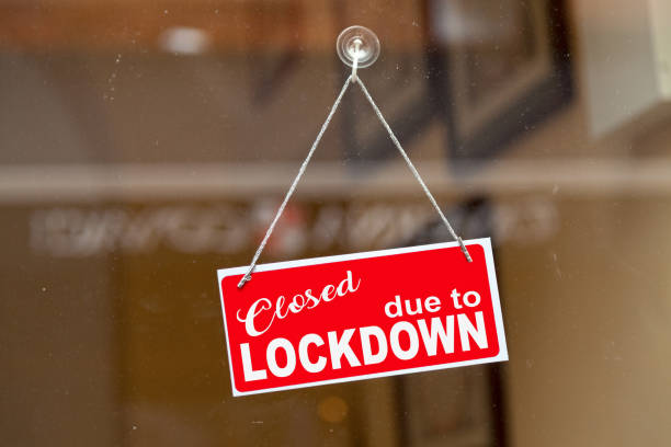Closed due to lockdown - Closed sign stock photo