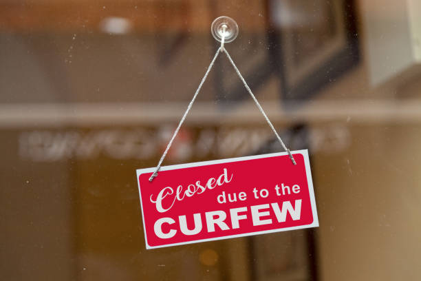 Closed due to the curfew stock photo