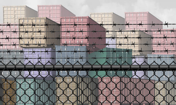 Closed Economy Concept Closed economy and barrier to trade and economic restrictions as a fence restricting import and export commerce and global trading business industry with a shipping port concept as a 3D illustration elements. trade war stock pictures, royalty-free photos & images