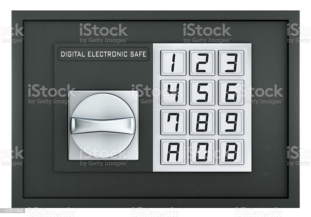 Closed electronic safe isolated on white stock photo