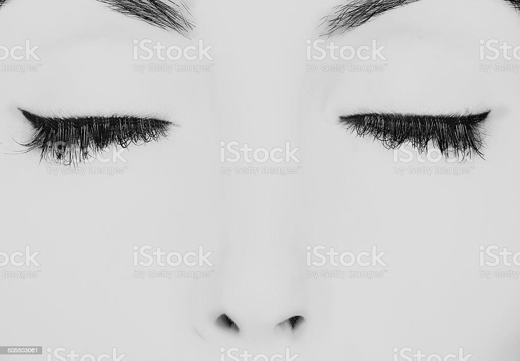 closed eyes stock photo