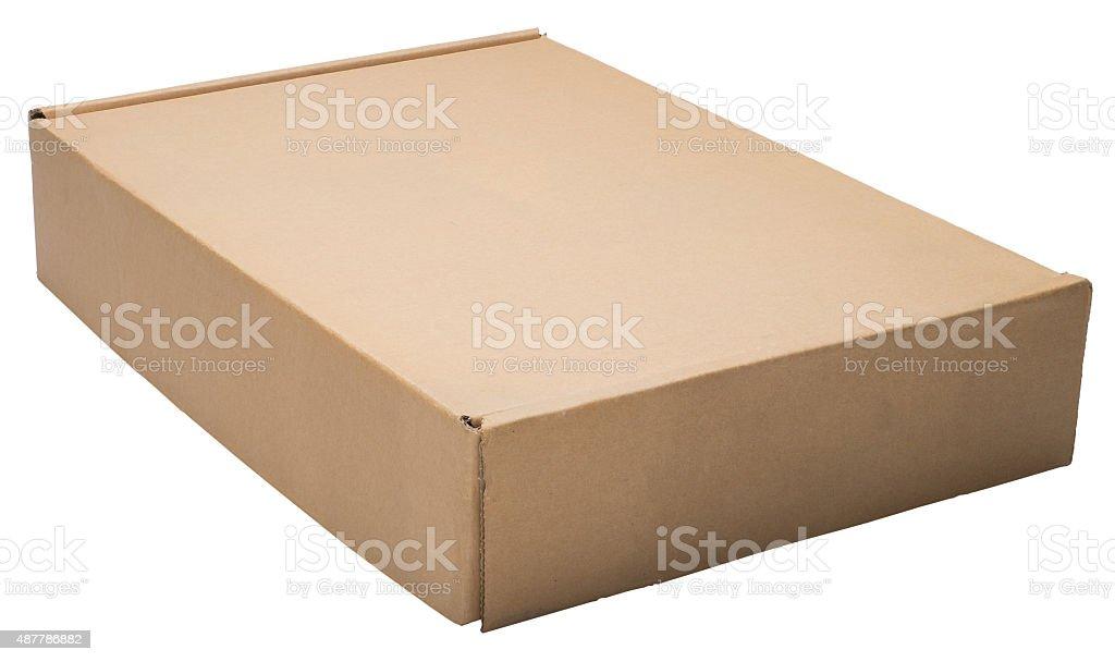 Closed flat cardboard box. stock photo