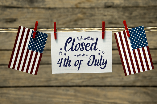 Independence day, 4th of july, we will be closed card or background.
