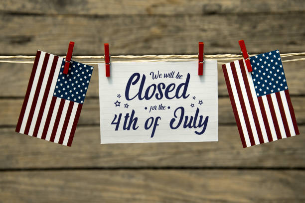 Closed for the 4th of july Independence day, 4th of july, we will be closed card or background. independence day holiday stock pictures, royalty-free photos & images