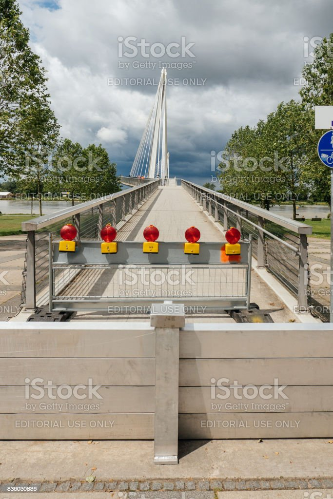 Closed Friendship bridge between France and Germany stock photo