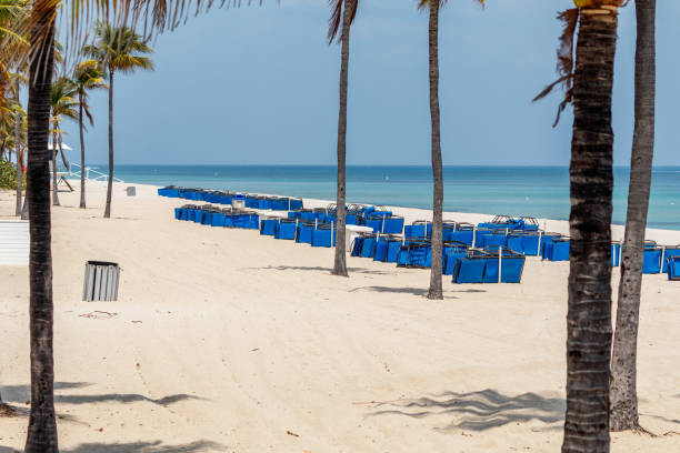 Closed Ft. Lauderdale Beach due to Covid 19 stock photo