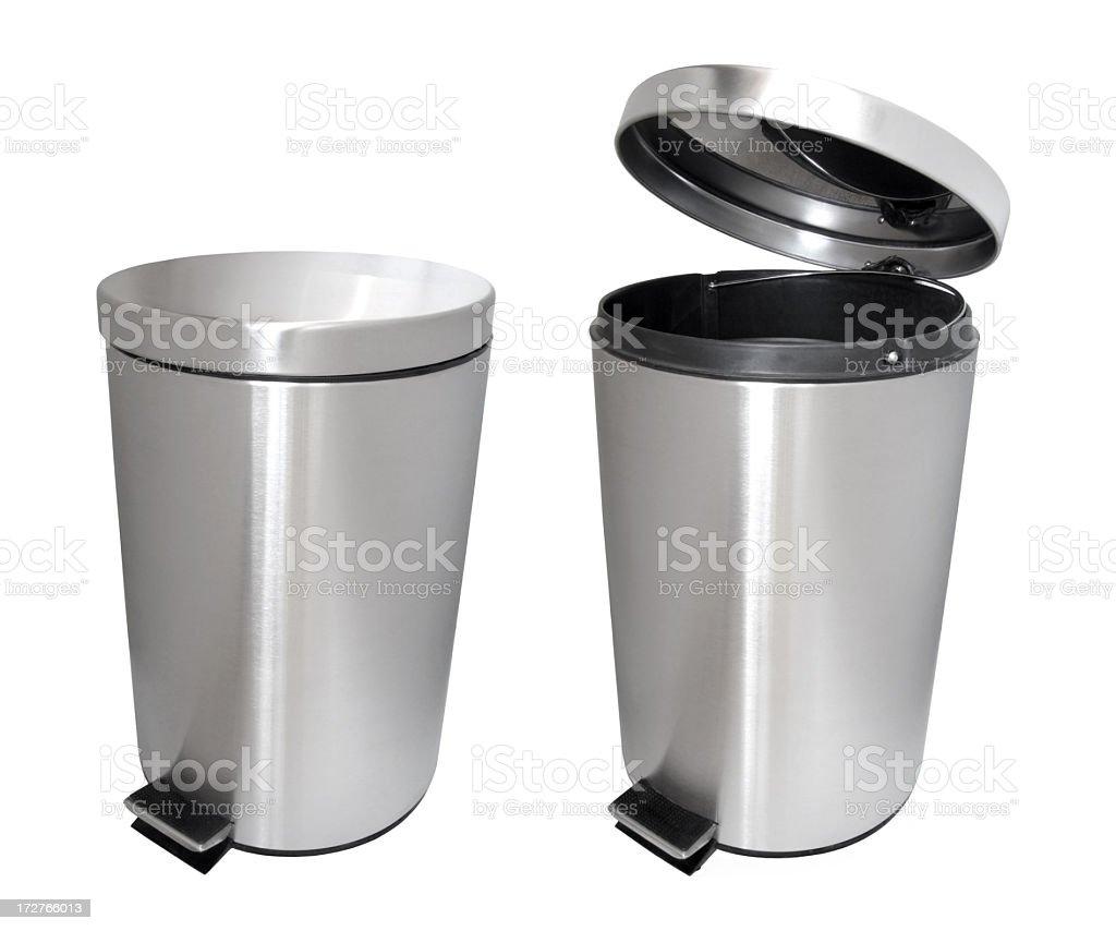 Closed garbage bin and an open garbage bin stock photo