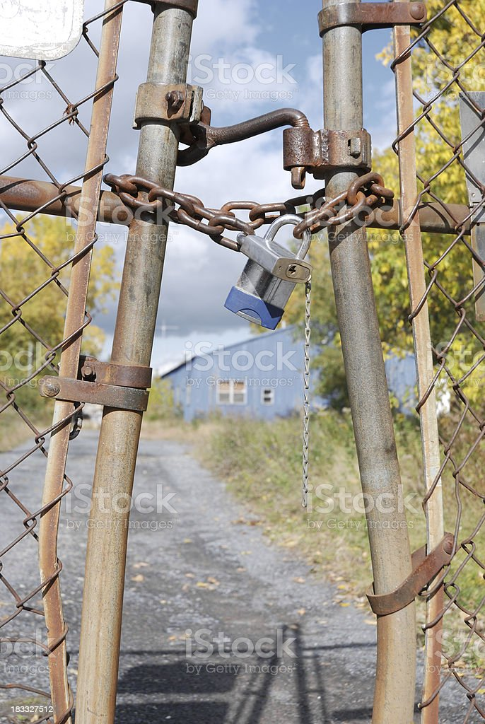 Closed gates after bankruptcy. royalty-free stock photo