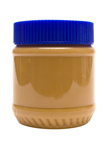 Closed Glass Of Peanut Butter W Path Stock Photo - Download Image Now