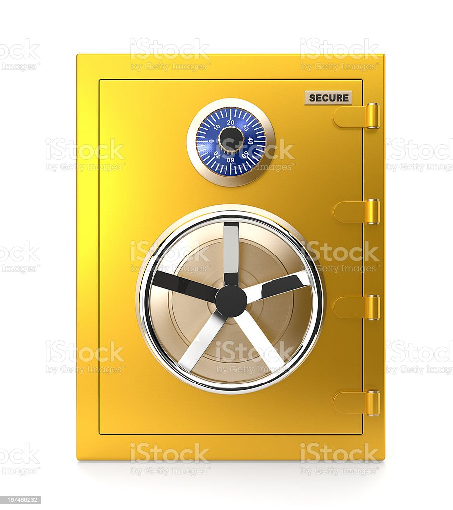 Closed golden safe royalty-free stock photo