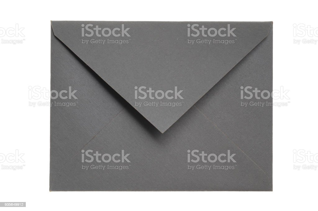 Closed Gray Envelope Isolated on White Background stock photo