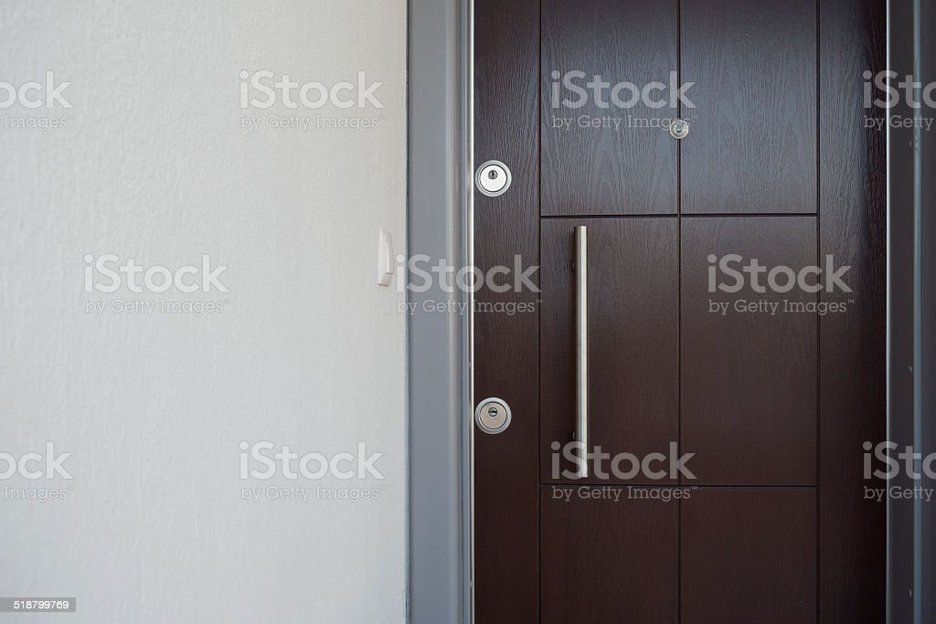 closed house door with copy space royalty-free stock photo