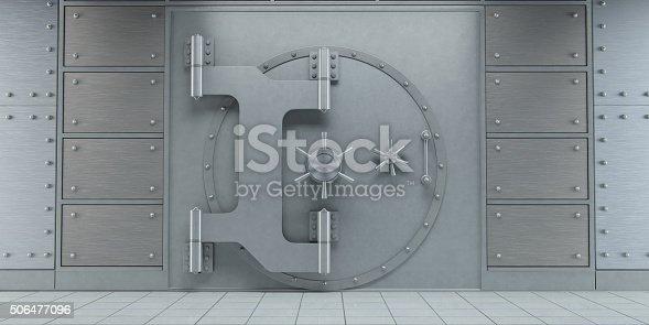 istock Closed huge bank vault doors front view 506477096