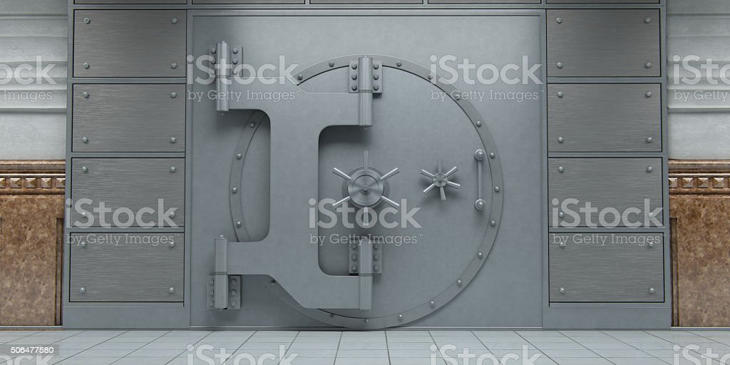 Closed huge bank vault doors front view stock photo
