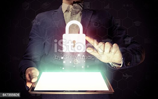 istock Closed lock, security concept 647355626