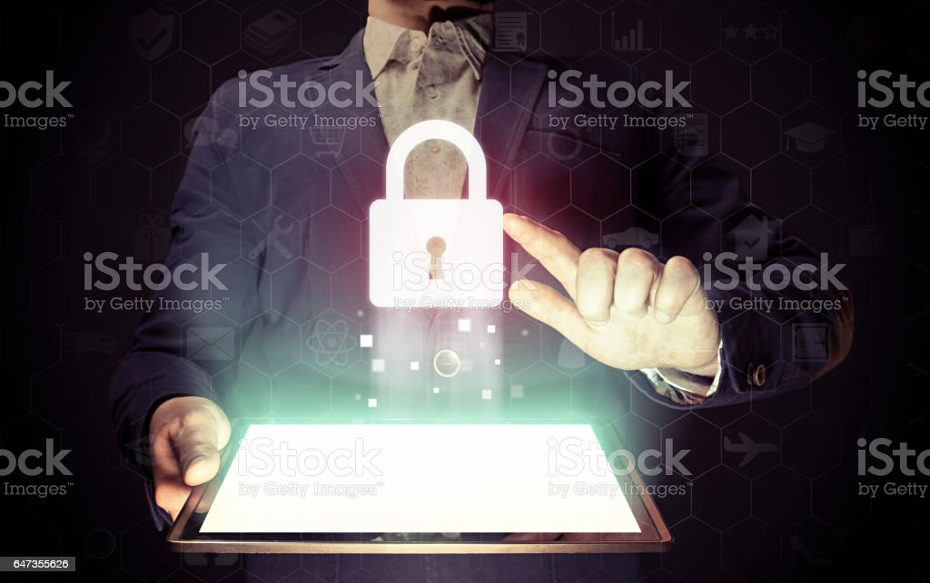 Closed lock, security concept stock photo