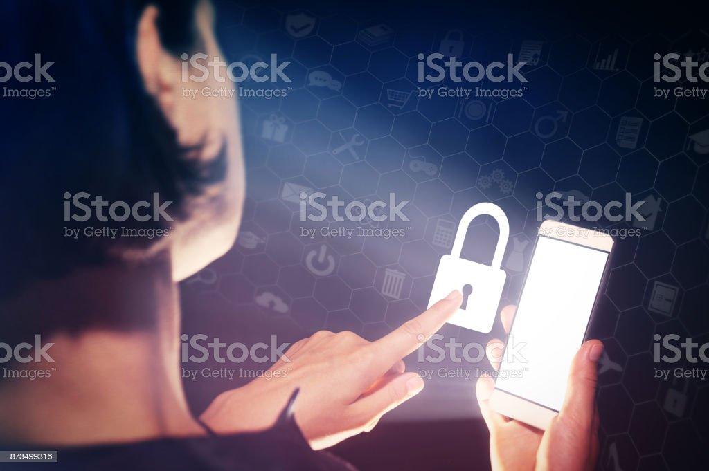Closed lock, security concept. stock photo