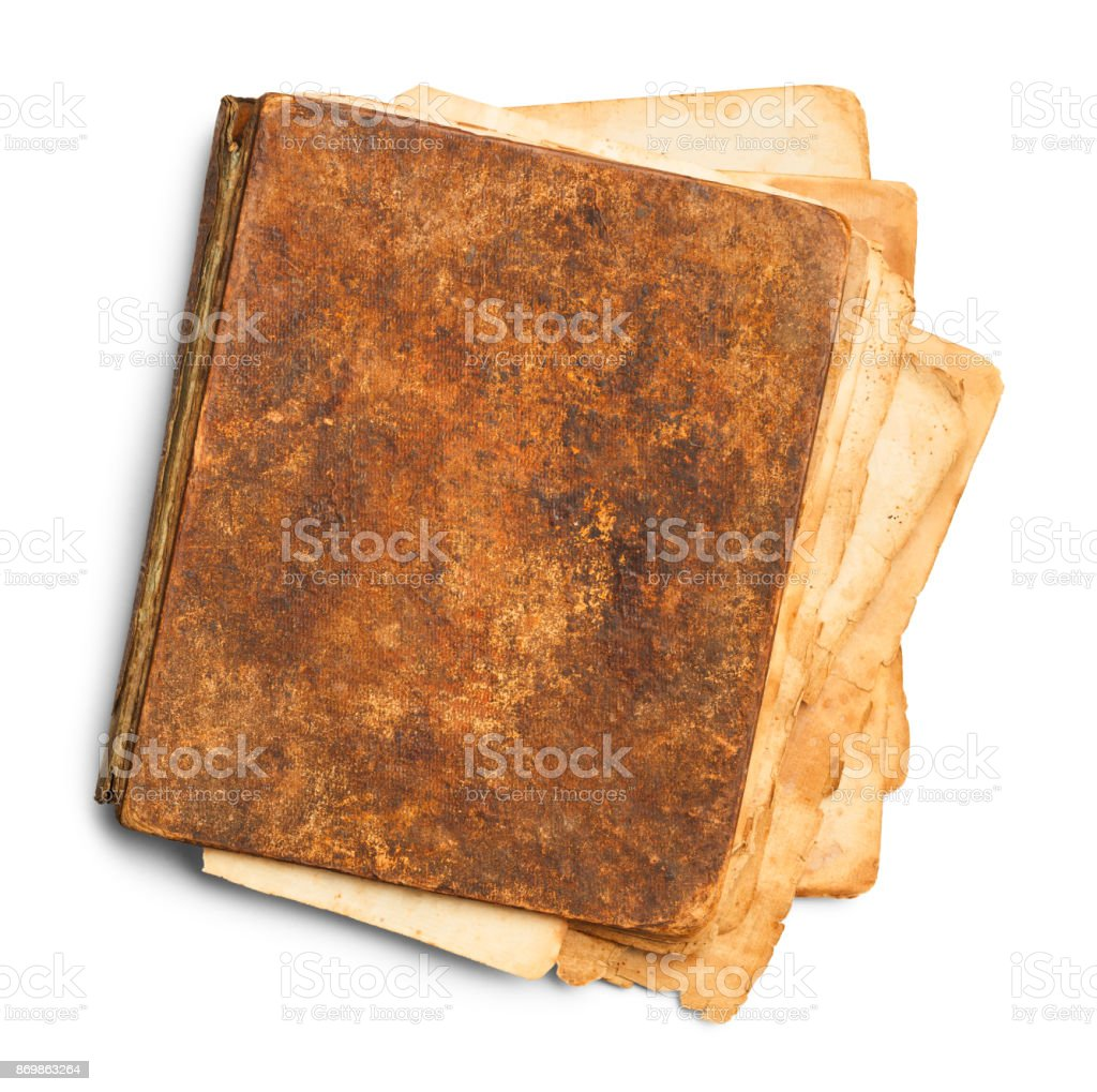 Closed Messy Old Book stock photo