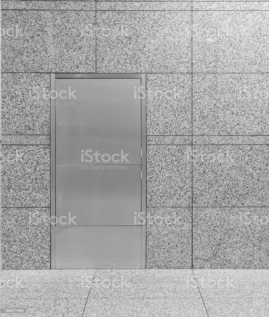 closed metal door detail, interior royalty-free stock photo