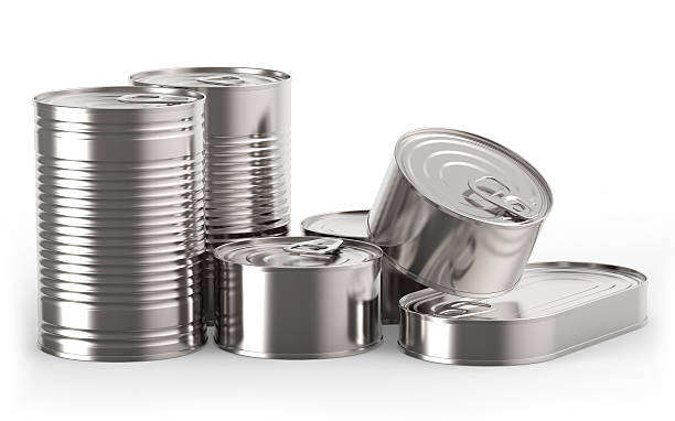 Closed metal tin cans stock photo