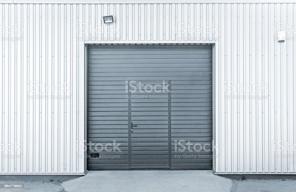 Closed modern garage or warehouse doors royalty-free stock photo