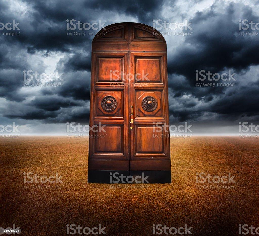 Closed old door stock photo