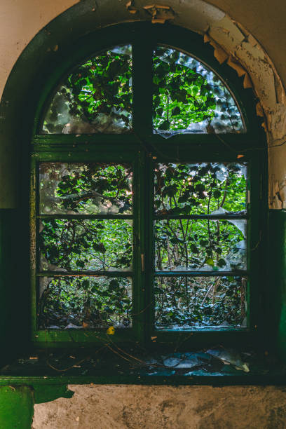 Closed old window with destroyed glass stock photo
