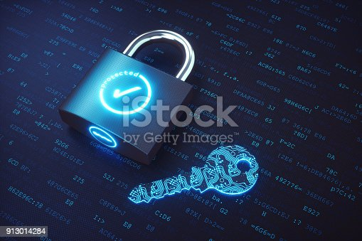istock Closed padlock with digital key lying on a binary code surface 913014284