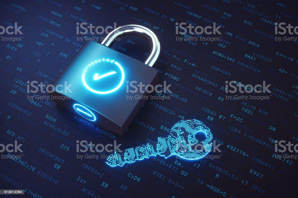 Vorhängeschloss mit digitalen Schlüssel liegen auf einer Fläche von Binärcode geschlossen – Foto