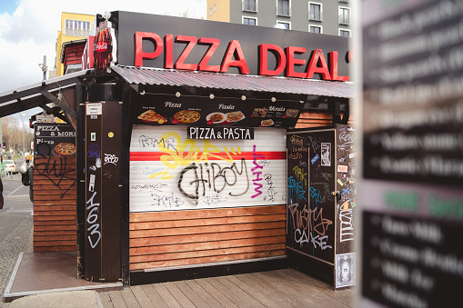 Closed Pizza Stand in Central Berlin while Corona Lockdown