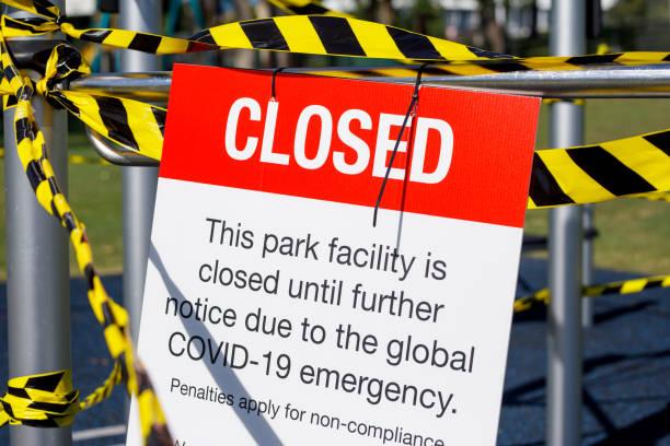 Stängd lekplats under Covid-19 avstängning bildbanksfoto