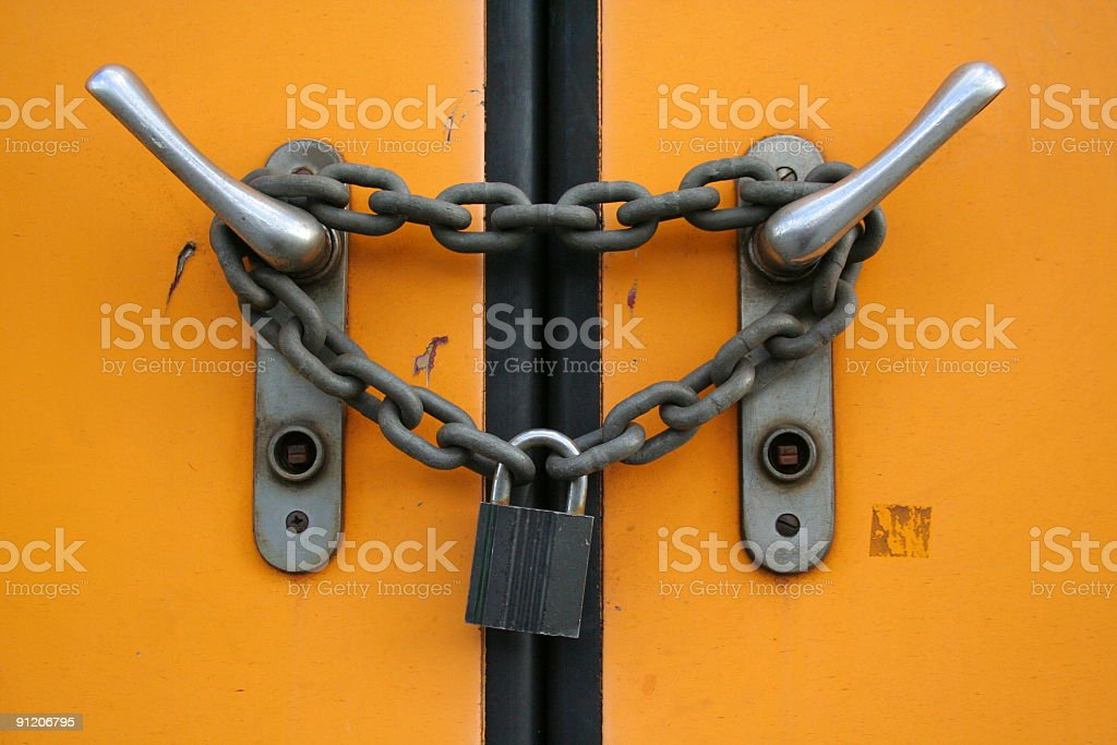 Closed plus locked with chain and padlock stock photo